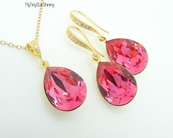 Pink Earrings and Necklace Set Bridal Matching Set Swarovski Crystal Hot Pink Gold Earrings Wedding Jewelry Bridesmaid Gift