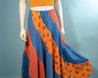 "Vintage 70s Patchwork Bias Cut Maxi Skirt/ Gypsy Music Festival Hipster Skirt /Bohemian Hippie Floral Skirt Waist 25"""