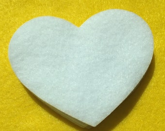 "100 white felt hearts.....3"" x 2"""