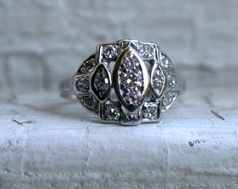 Sweet Vintage Platinum Diamond Art Deco Engagement Ring - 0.30ct