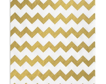 100 Metallic Gold and White Chevron Favor Bags, 5 x 7.5 Inch Flat Paper Bags