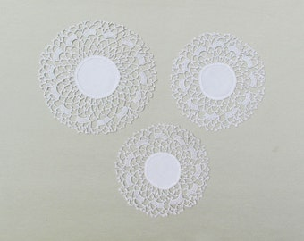 Antique small doilies with crocheted lace trim, set of 3 early 1900's doilies, pale ecru linen and lace doilies