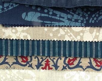 Marine Blue,Red,White,Linen Inspiration Pack,Sewing,Waldorf,Patchwork Quilt Kit,Art Doll Kit,Goddess,Muse,Scrapbooking DIY,Party Garland Kit