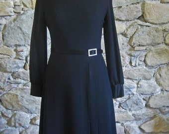 1950s little black dress homemade French robe with rhinestone buckle