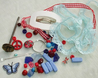 Found Object Mixed Media Altered Art Inspiration Kit - Red, White, Blue