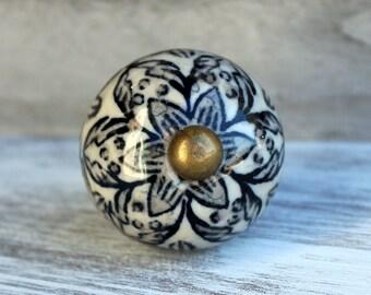 Grey Black Antique White Ceramic Knob Cabinet Knob Dresser Knob Rustic
