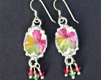 Earrings, Broken China Jewelry, Broken China Earrings, Pink and Green Leaf China, Sterling Silver Earrings, Soldered Jewelry