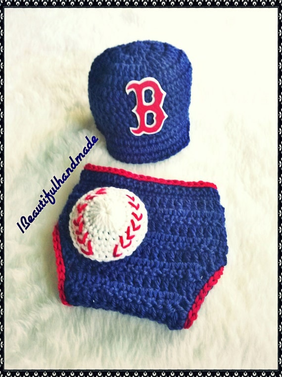 Baby Boy Crochet Boston Red Sox Baseball Cap By