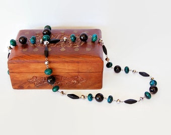 Green stone, black and silver long chunky necklace