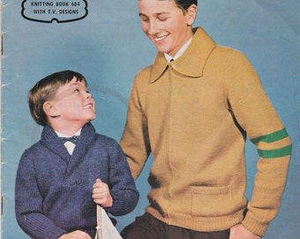 Paton's Knitting Pattern No 684 for Boys & Teens age 5  to Teen years 24 to 37 inches - Vintage 1960s, Jumpers, Cardigans, Sweaters, Jackets
