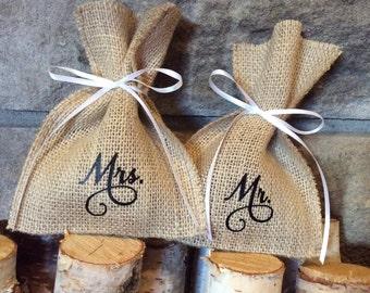 Burlap Wedding Ring Bags - MR & MRS Ring Bags - Ring Holder - Ring Bearer Bag - Wedding Ring Pillow Alternative