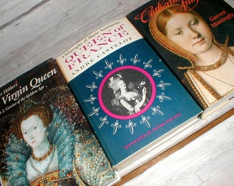 Three Books *The Queens* Catherine of Aragon Marie Antoinette The Virgin Queen *Library Display*
