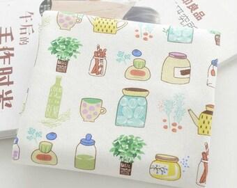 Cotton Linen with Bottles Print, Vintage Colorful Fresh, Zaka DIY Fabric, 1/2 yards (QT532)