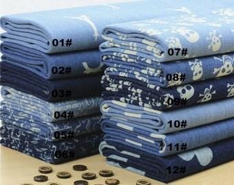 Heavy Denim Cotton Fabric, Washed Denim, Print Blue Denim,DIY,Sewing 1/2 yard  (QT576)