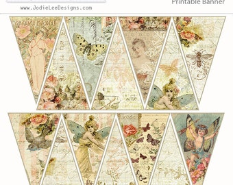Butterfly Garden Mini Bunting/Banner to Download and Print