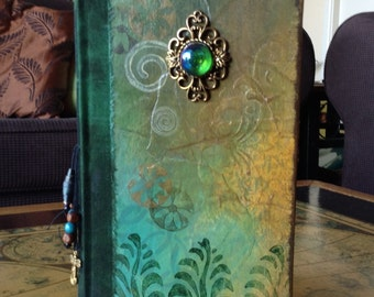 Altered book journal customisable green yellow