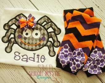 Spider Halloween Outfit-Personalized Spider shirt-halloween leg warmers