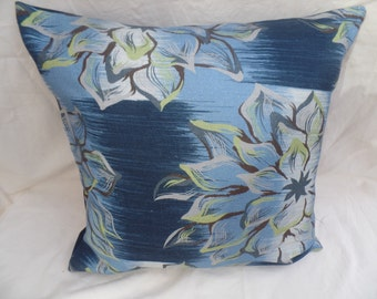 """Blue, pistachio green decorative flowered 16"""" cushion cover,  pillow, scatter cushion."""