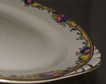 """12 inch Platter by Carrollton Pottery USA 12"""" Circa 1980's Scallop Floral Pattern with Thumb Handles"""