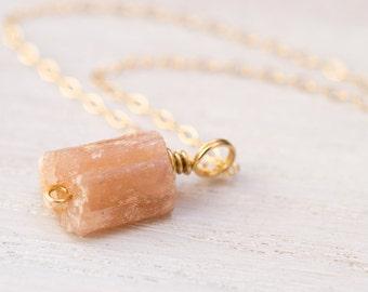 Pink Tourmaline Necklace, raw crystal necklace, rough gemstone necklace, raw gemstone jewelry, October birthstone