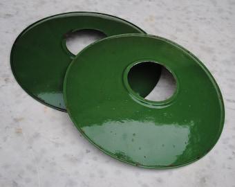 Pair of vintage green enamel graniteware industrial loft French lamp shades  # 2