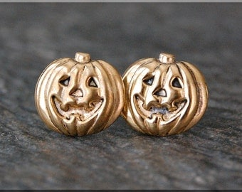 Pumpkin Earrings. Gold Jack o Lantern Post Earrings, Brass Pumpkin Earrings, sterling silver post stud earrings. Halloween Earrings