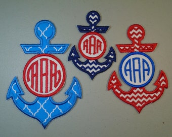"Custom monogrammed 5"" tall  anchor  iron on or sew on applique patch"