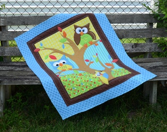 Cuddly Blue Flannel Baby Owl Quilt/Blanket
