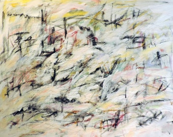 8-21-15 (LARGE 4' x 3'  abstract expressionist painting on canvas, black, white, cream, gray, blue, yellow)