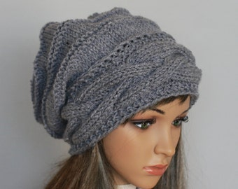 Slouchy Knitted Hat Large Women. Knit slouchy Beanie hat. Large hat  . Chunky Knit Winter.Accessories Oversized Hat.In many colours.