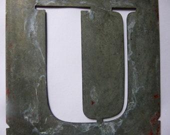 U, Vintage Stencil Initials, French, Zinc, Letter U.
