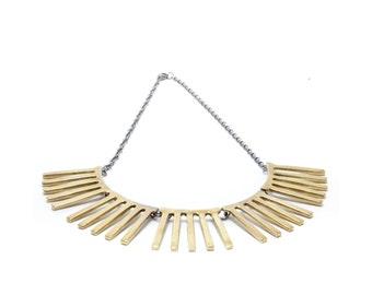 striped necklace // brass