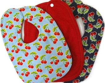Baby Bib Set - Baby Girl Bib - Baby Boy Bib -  Cherry Bib - Bib Set - Toddler Bib - Gender Neutral - Cotton Feeding Bib - New Baby Gift Set