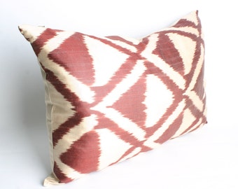 22x15 inch-Luxurious ikat Pillow,Brown Cream Triangle Pillow,Traditional Handmade Pillowcase, Modern Silky Decorative Pillow For Couch