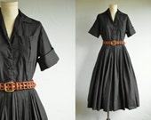 Vintage 50s Dress / 1950s Classic Black Cotton Shirtdress / LBD Pleated Skirt
