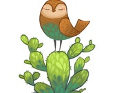 illustrated bird and cactus 8.5 by 11, wall art, children's room print