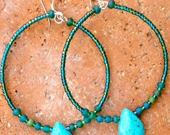 Turquoise Hoops, Turquoise Hoop Earrings, Turquoise Teardrops, Beaded Hoops