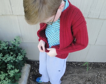 Boys Ribbed Cardigan Sweater, Size 6 8, Red, Zipped, Long Sleeves, Basic Comfortable Cardi