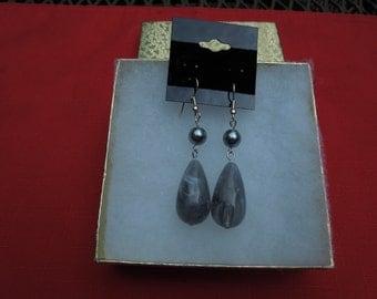 Gray Teardrop Earrings