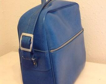 Blue Suitcase Bag, Vintage Leather Travel Bag, Vintage Blue Luggage, Shoulder Bag, Vintage Carry On