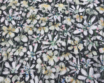 LIBERTY Of LONDON Tana Lawn Cotton Fabric  'Eleonora' Black/Ivory/Yellow Floral