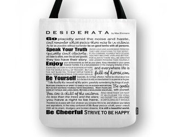 Desiderata by Max Ehrmann Tote Book Bag - Inspirational Poem Poetry - Gift for Grad Poet Lover - Assorted Sizes - Custom Color Available