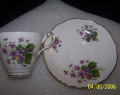 Regency English Bone China Made In England, Cup and Saucer, Violets