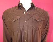 Mens MEDIUM cowboy shirt, Panhandle Slim, vintage, shiny brown stretch, pearl snaps (610)