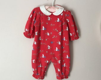 Vintage One Piece Baby Girl Cotton Romper Snap Crotch size 3 to 6 months
