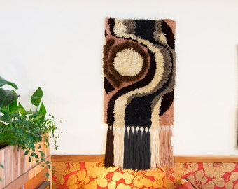 Vintage 70s MOON Trippy LATCH HOOK Handmade Textile Fiber Arts Boho Psychedelic Swirl Wall Hanging