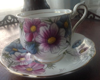 Vintage COSMOS Tea Cup and Saucer  Royal Albert Bone China EXCELLENT England Flower of the Month Series Cosmos Hand Painted
