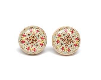 Bohemian floral studs, boho flower post earrings, bohemian jewelry, eco friendly floral jewelry, wood jewelry, wood earrings