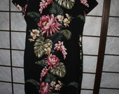 Reserved for Lannett Hawaiian Barkcloth Cheongsam XL