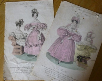 Antique french ladies Fashion Print Pair 1830s Original Print Early Victorian and Colonial Era Clothing LFP2